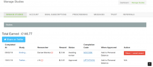 Screenshot of manage studie page on Prolific Academic