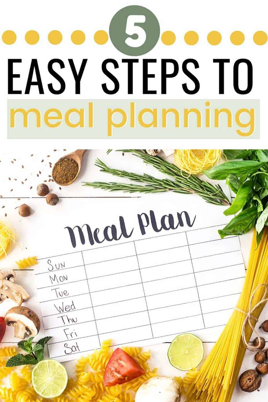 5 easy steps to meal planning