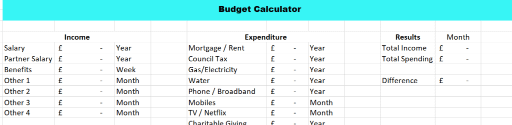 Budget Calculator screenshot