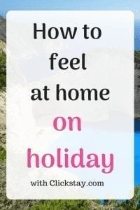 Photo of Greek coastline with text 'How to feel at home on holiday'