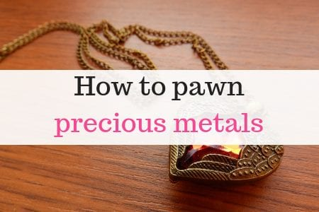 gold necklace with text overlay reading 'how to pawn precious metals'