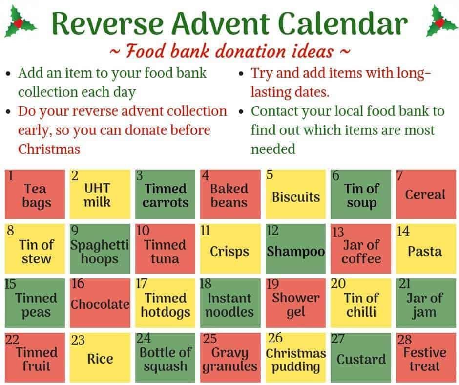 Reverse advent calender suggestions graphic