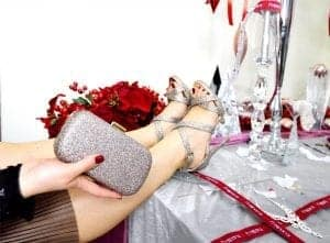 Sparkly shoes and handbag