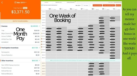 screenshot of week one earning