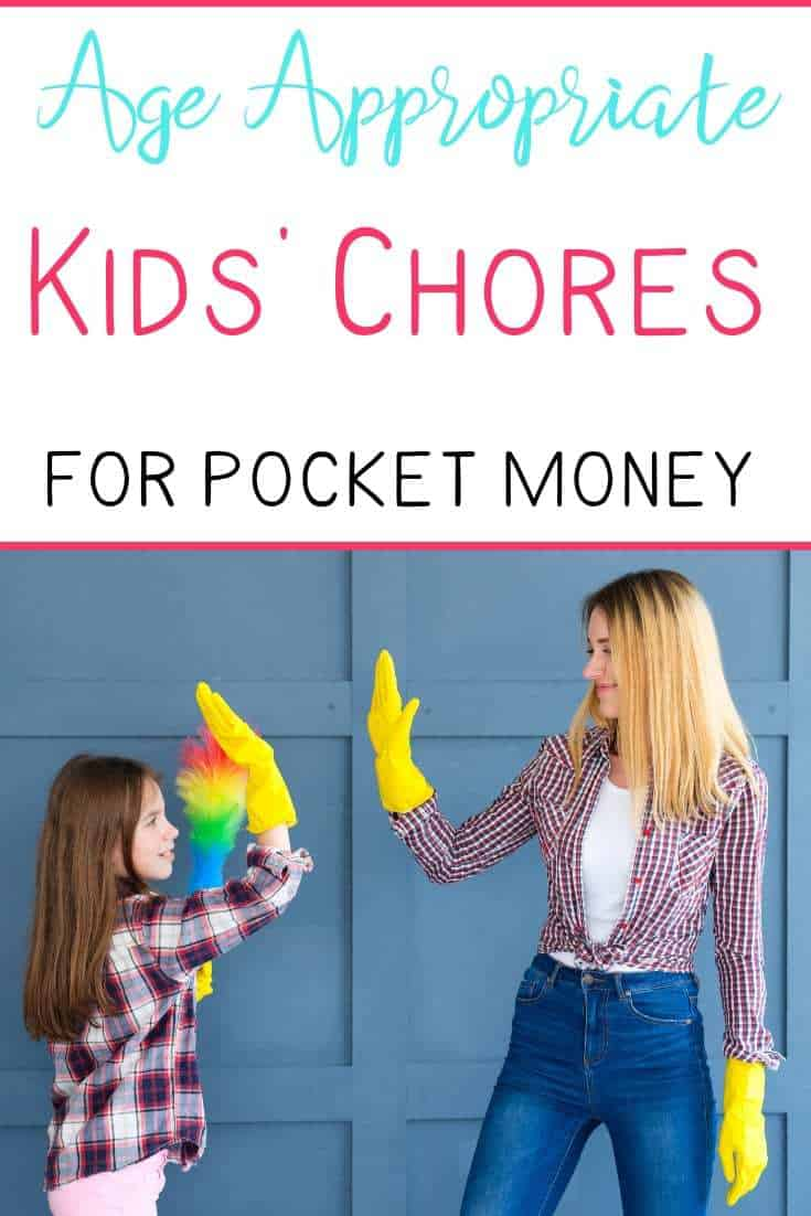 Text 'Age appropriate kids chores for pocket money' over image of mom and daughter high living wearing yellow marigolds