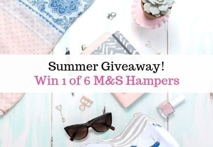 Sunglasses, pink and blue sarong with text overlay 'summer giveaway'