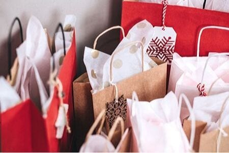 Paper bags of Christmas shopping