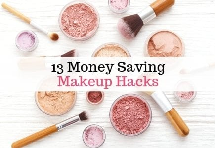 Makeup powder and brushes with text overlay '13 Money Saving Makeup Hacks'