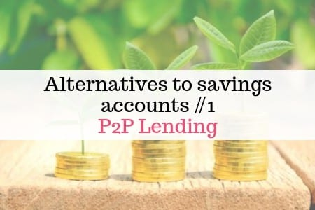 piles of coins on soil with green shoots and text'alternatives to savings accounts p2p lending'