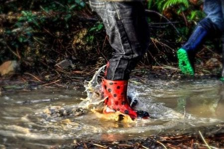 welly boots splashing in puddle