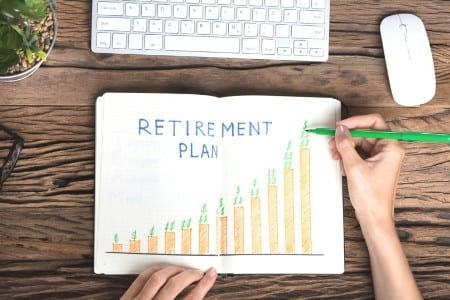 retirement plan graph with keyboard next to plant