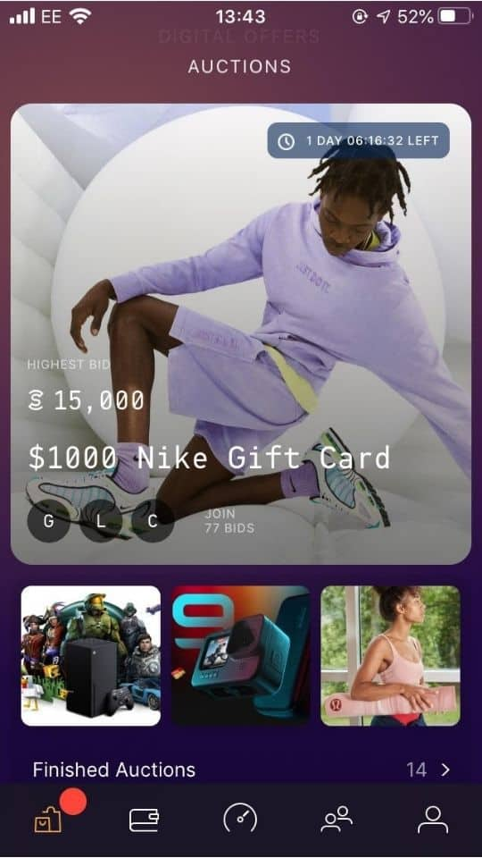 Sweatcoin Auction screen showing auction for $1000 Nike gift card
